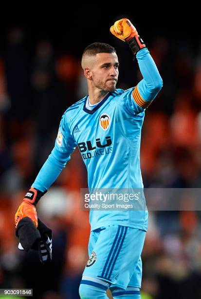 Jaume Domenech of Valencia celebrates after the Copa del Rey Round of 16 second Leg match between Valencia CF and UD Las Palmas on January 9 2018 in...