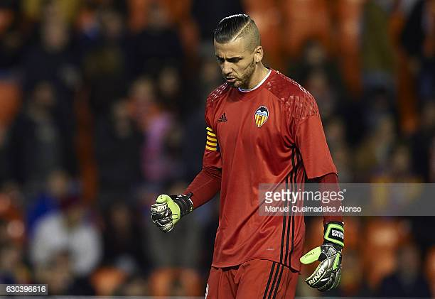 Jaume Domenech of Valencia celebrates during the Copa del Rey Round of 16 match between Valencia CF and CD Leganes at Estadio Mestalla on December 21...