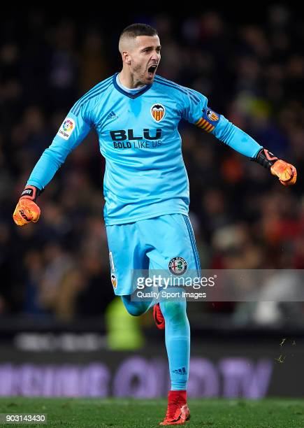 Jaume Domenech of Valencia celebrates during the Copa del Rey Round of 16 second Leg match between Valencia CF and UD Las Palmas on January 9 2018 in...