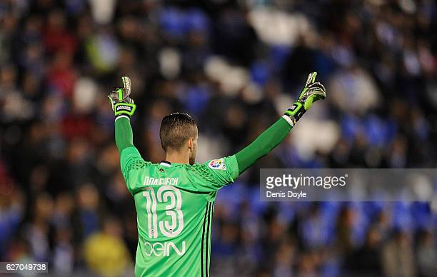 Jaume Domenech of Valencia CF celebrates after his team scored their 1st goal during the Copa del Rey Round of 32 match between CD Leganes and...