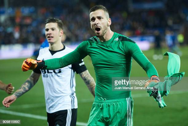 Jaume Domenech of Valencia CF celebrates after winning the match against Alaves after the penalti shootout during the Copa del Rey Quarter Final...