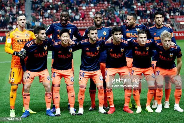 Jaume Domenech of Valencia CF Ferran Torres of Valencia CF Mouctar Diakhaby of Valencia CF Lee Kang In of Valencia CF Jose Gaya of Valencia CF Michy...