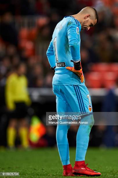 Jaume Domenech of Valencia CF reacts during the Copa de Rey semifinal second leg match between Valencia and Barcelona on February 8 2018 in Valencia...