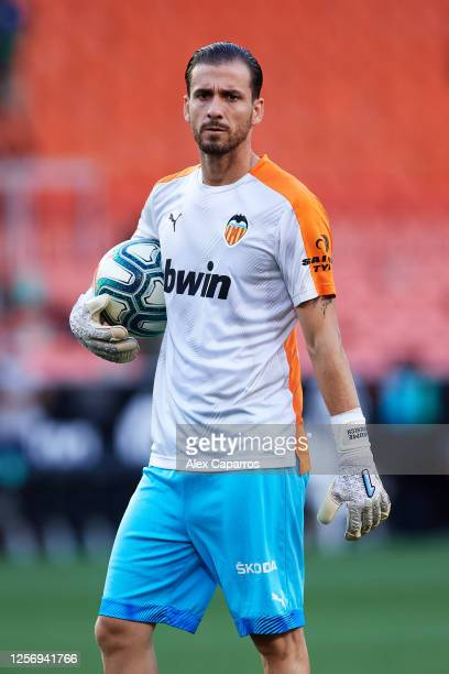 Jaume Domenech of Valencia CF warms up before the Liga match between Valencia CF and RCD Espanyol at Estadio Mestalla on July 16 2020 in Valencia...
