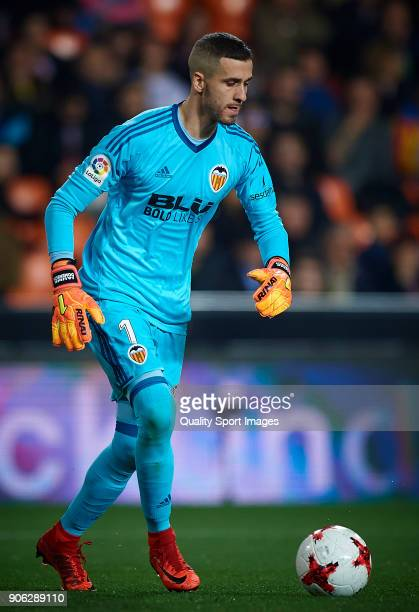 Jaume Domenech of Valencia in action during the Copa Del Rey 1st leg match between Valencia and Alaves at Estadio Mestalla on January 17 2018 in...