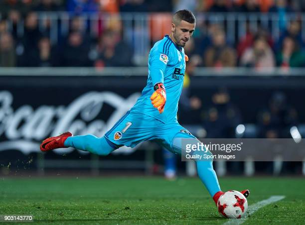 Jaume Domenech of Valencia in action during the Copa Del Rey 2nd leg match between Valencia and Las Palmas at Mestalla Stadium on January 9 2018 in...