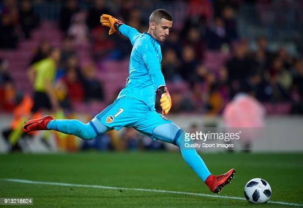 Jaume Domenech of Valencia in action during the Copa del Rey semifinal first leg match between FC Barcelona and Valencia CF at Camp Nou on February 1...