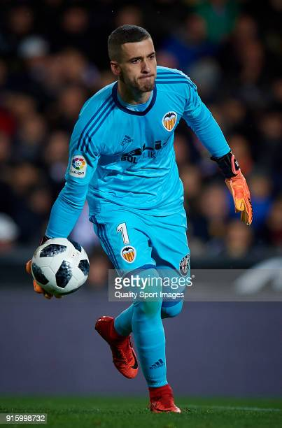 Jaume Domenech of Valencia in action during the Semi Final Second Leg match of the Copa del Rey between Valencia CF and FC Barcelona on February 8...
