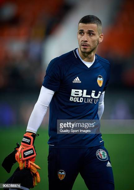 Jaume Domenech of Valencia looks on prior the Copa Del Rey 1st leg match between Valencia and Alaves at Estadio Mestalla on January 17 2018 in...