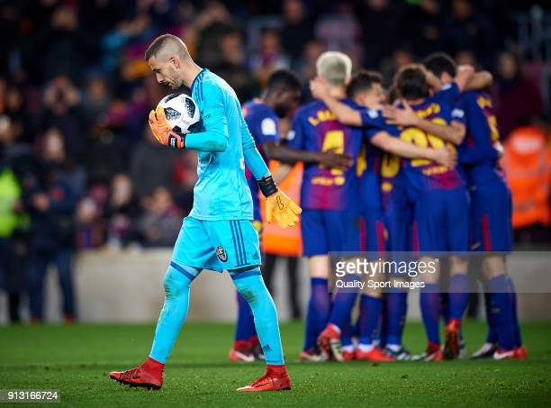 Jaume Domenech of Valencia reacts after Barcelona goal during the Copa del Rey semifinal first leg match between FC Barcelona and Valencia CF at Camp...