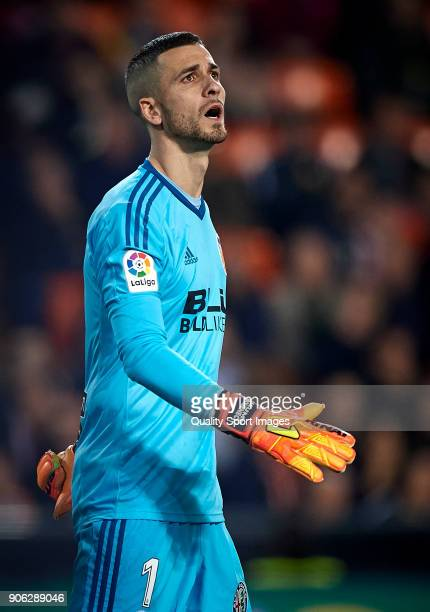 Jaume Domenech of Valencia reacts during the Copa Del Rey 1st leg match between Valencia and Alaves at Estadio Mestalla on January 17 2018 in...