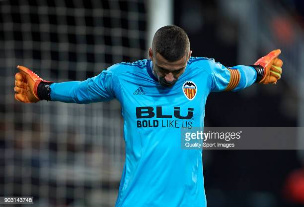 Jaume Domenech of Valencia reacts during the Copa Del Rey 2nd leg match between Valencia and Las Palmas at Mestalla Stadium on January 9 2018 in...