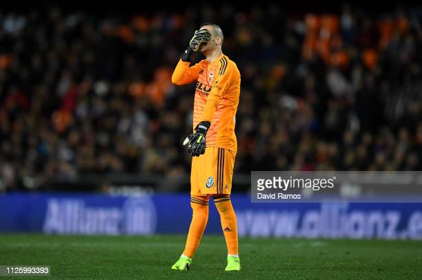 Jaume Domenech of Valencia reacts during the Copa del Rey Quarter Final match between Valencia and Getafe at Estadio Mestalla on January 29, 2019 in...