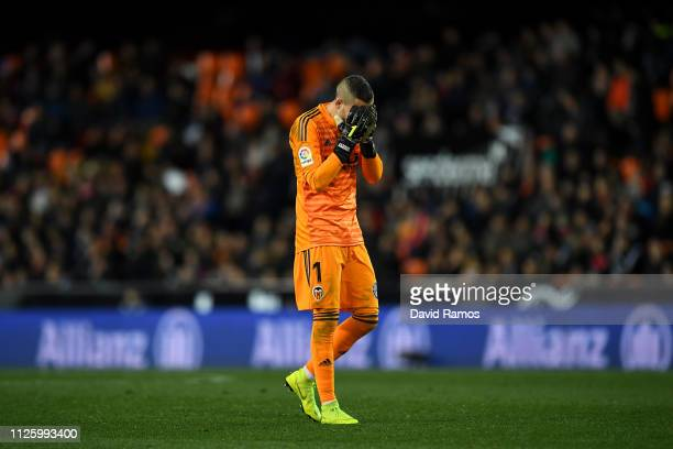 Jaume Domenech of Valencia reacts during the Copa del Rey Quarter Final match between Valencia and Getafe at Estadio Mestalla on January 29 2019 in...