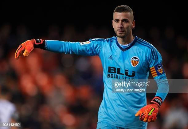 Jaume Domenech of Valencia reacts during the Copa del Rey Round of 16 second Leg match between Valencia CF and UD Las Palmas on January 9 2018 in...