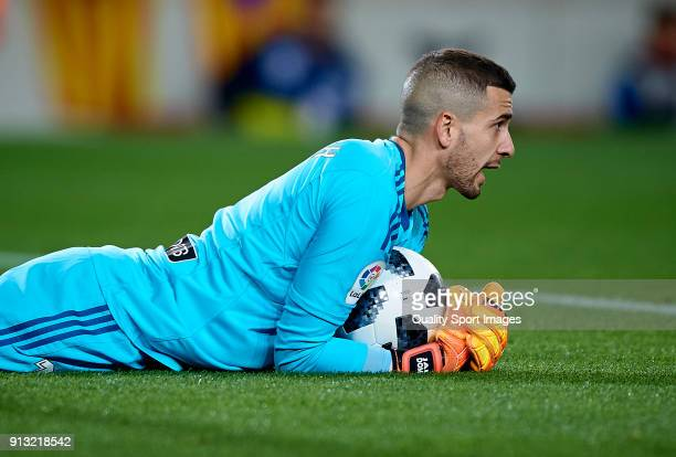 Jaume Domenech of Valencia reacts during the Copa del Rey semifinal first leg match between FC Barcelona and Valencia CF at Camp Nou on February 1...