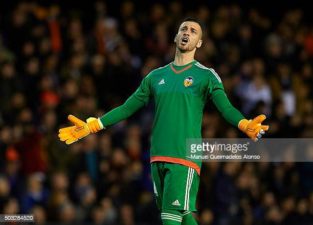 Jaume Domenech of Valencia reacts during the La Liga match between Valencia CF and Real Madrid CF at Estadi de Mestalla on January 03 2016 in...