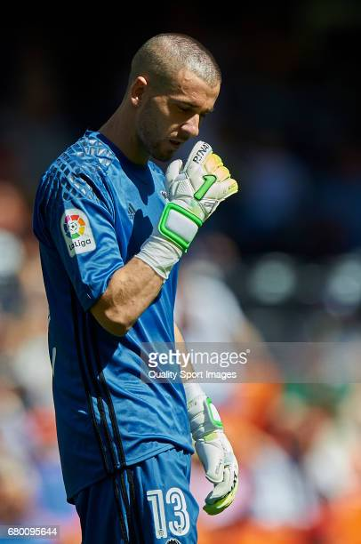 Jaume Domenech of Valencia reacts during the La Liga match between Valencia CF and CA Osasuna at Mestalla Stadium on May 7 2017 in Valencia Spain