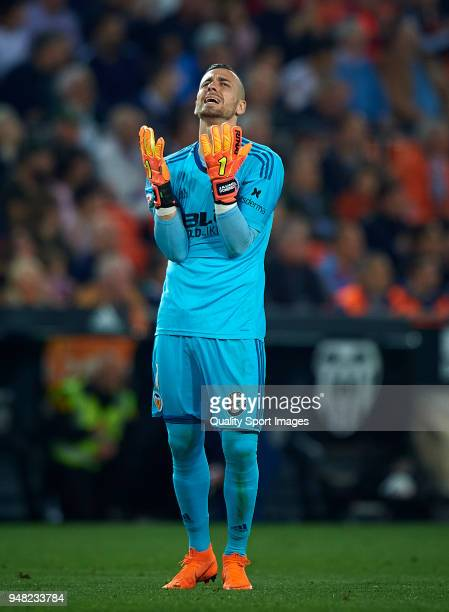 Jaume Domenech of Valencia reacts during the La Liga match between Valencia and Getafe at Mestalla Stadium on April 18 2018 in Valencia Spain