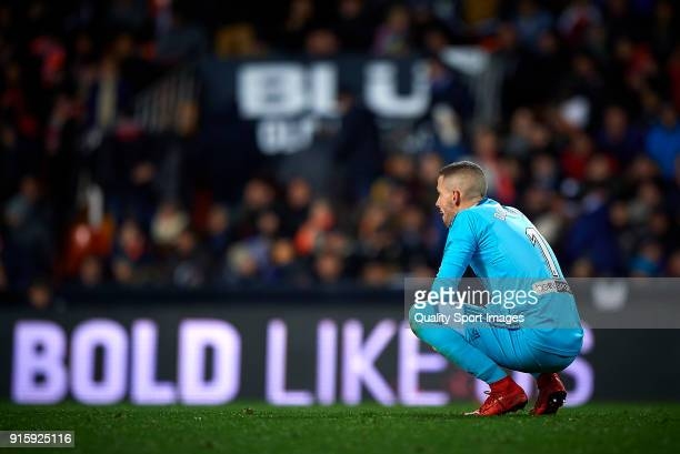 Jaume Domenech of Valencia reacts during the Semi Final Second Leg match of the Copa del Rey between Valencia CF and FC Barcelona on February 8 2018...