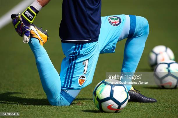 Jaume Domenech of Valencia warms up prior to the La Liga match between Levante and Valencia at Ciutat de Levante Stadium on September 16 2017 in...