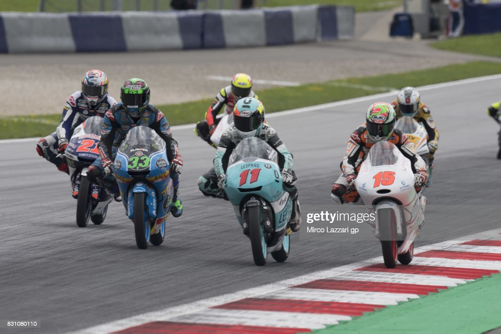 Jaume Masia of Spain and Platinum Bay Real Estate leads the field during the Moto3 race during the MotoGp of Austria - Race at Red Bull Ring on August 13, 2017 in Spielberg, Austria.