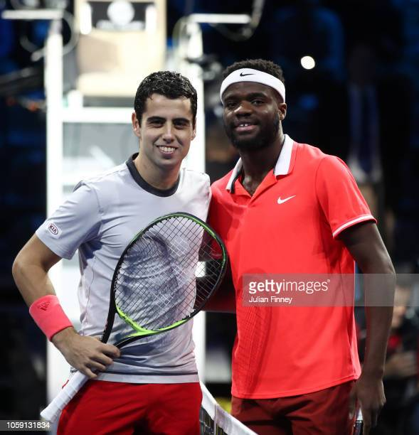 Jaume Munar of Spain and Frances Tiafoe of The United States pose for a photo ahead of their group match during Day Three of the Next Gen ATP Finals...