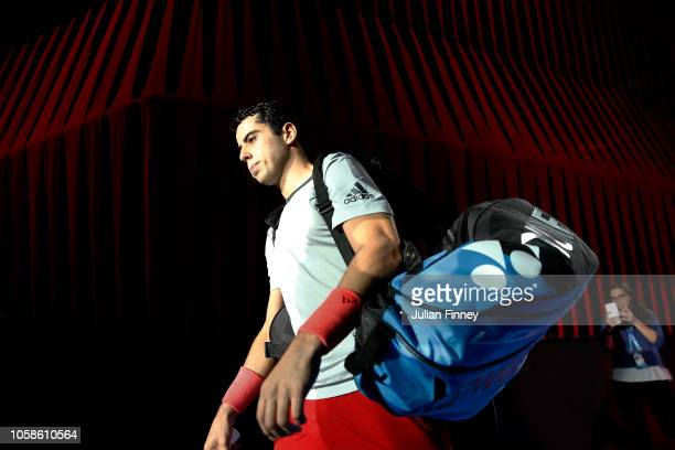 Jaume Munar of Spain arrives in his group match against Hubert Hurkacz of Poland during Day Two of the Next Gen ATP Finals at Fiera Milano Rho on...