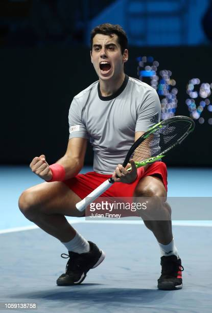 Jaume Munar of Spain celbrates after winning match point in his group match against Frances Tiafoe of The United States during Day Three of the Next...