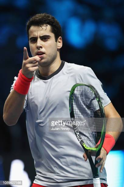 Jaume Munar of Spain celebrates a point in his semi final match against Alex de Minaur of Australia during Day Four of the Next Gen ATP Finals at...