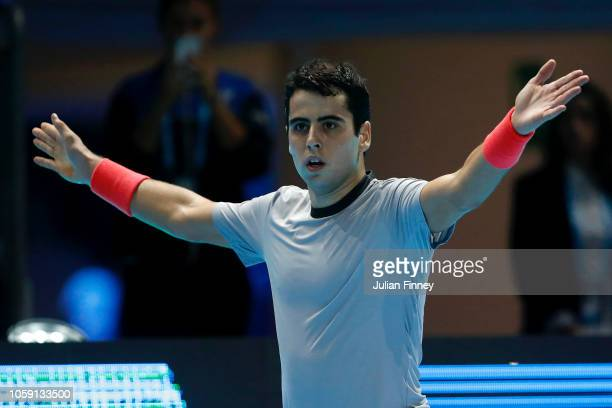 Jaume Munar of Spain celebrates after winning the second set during his group match against Frances Tiafoe of The United States during Day Three of...