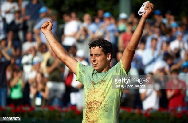 Jaume Munar of Spain celebrates his victory after his match against Joao Souza of Portugal day two of the ATP Barcelona Open Banc Sabadell at the...