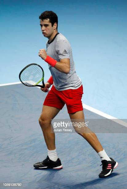 Jaume Munar of Spain celebrates in his group match against Frances Tiafoe of The United States during Day Three of the Next Gen ATP Finals at Fiera...