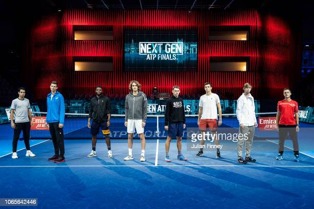 Jaume Munar of Spain Hubert Hurkacz of Poland Frances Tiafoe of USA Stefanos Tsitsipas of Greece Alex de Minaur of Australia Taylor Fritz of USA...