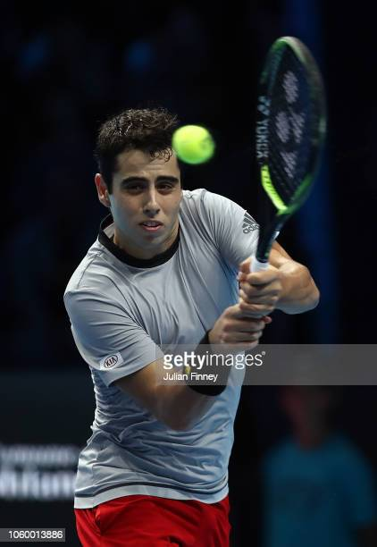 Jaume Munar of Spain in action against Andrey Rublev of Russia in the 3rd/4th match during Day Five of the Next Gen ATP Finals at Fiera Milano Rho on...