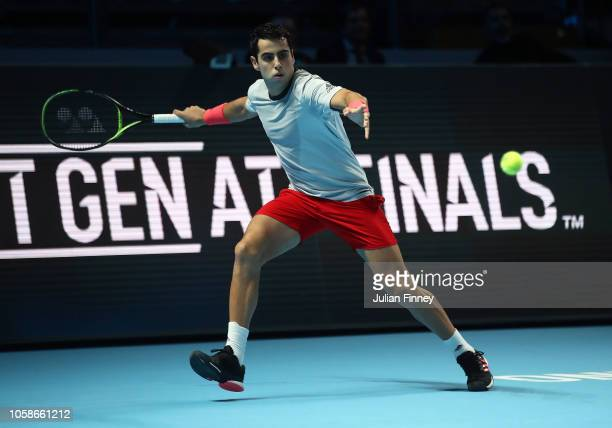 Jaume Munar of Spain in action in his group match against Hubert Hurkacz of Poland during Day Two of the Next Gen ATP Finals at Fiera Milano Rho on...