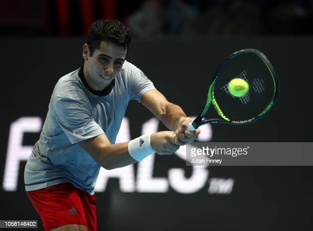 Jaume Munar of Spain in action in his group match against Stefanos Tsitsipas of Greece during Day One of the Next Gen ATP Finals at Fiera Milano Rho...