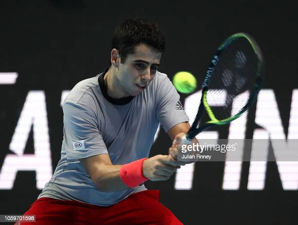 Jaume Munar of Spain in action in his match against Alex de Minaur of Australia in the semi finals during Day Four of the Next Gen ATP Finals at...