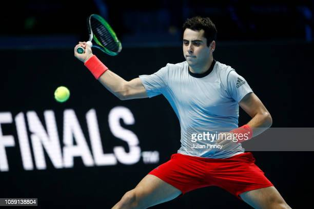 Jaume Munar of Spain plays a forehand during his group match against Frances Tiafoe of The United States during Day Three of the Next Gen ATP Finals...