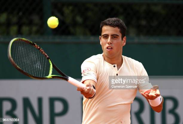 Jaume Munar of Spain plays a forehand during his mens singls first rounf match against David Ferrer os Spain during day two of the 2018 French Open...