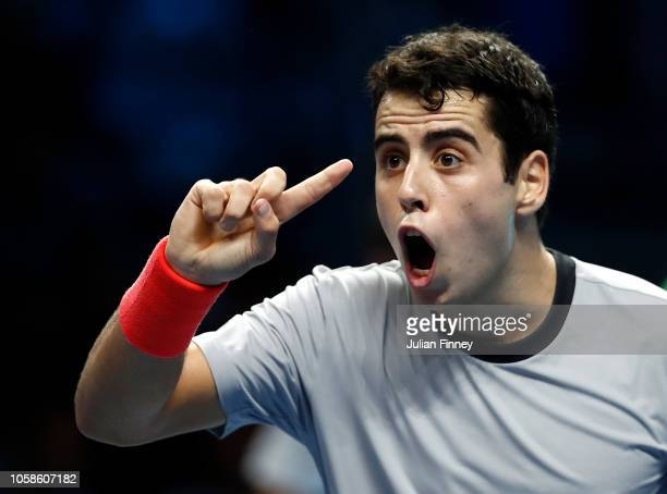 Jaume Munar of Spain reacts in his group match against Hubert Hurkacz of Poland during Day Two of the Next Gen ATP Finals at Fiera Milano Rho on...