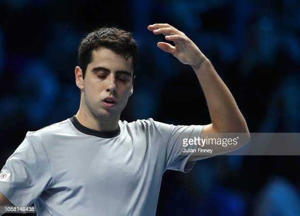 Jaume Munar of Spain reacts in his group match against Stefanos Tsitsipas of Greece during Day One of the Next Gen ATP Finals at Fiera Milano Rho on...