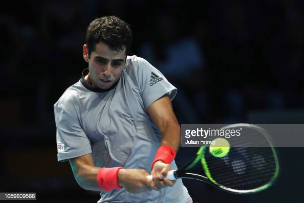 Jaume Munar of Spain returns a backhand in his semi final match against Alex de Minaur of Australia during Day Four of the Next Gen ATP Finals at...