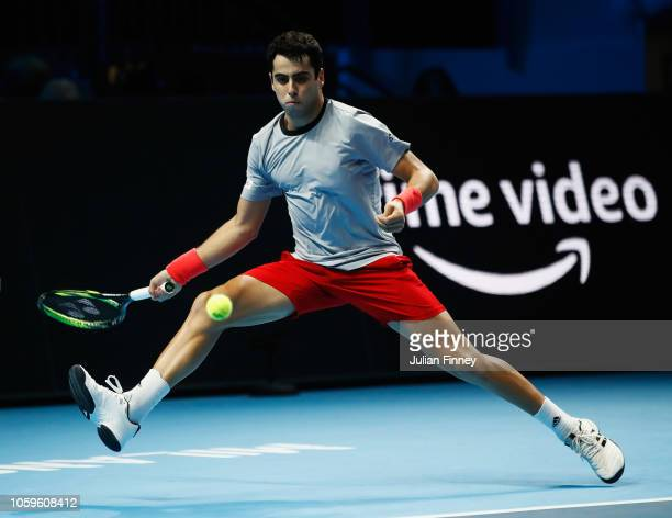 Jaume Munar of Spain returns a forehand in his semi final match against Alex de Minaur of Australia during Day Four of the Next Gen ATP Finals at...
