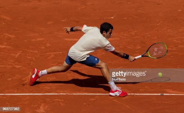 Jaume Munar of Spain returns the ball to Novak Djokovic of Serbia during the second round at Roland Garros Grand Slam Tournament Day 4 on May 30 2018...