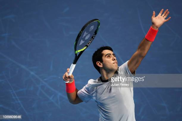 Jaume Munar of Spain serves in his semi final match against Alex de Minaur of Australia during Day Four of the Next Gen ATP Finals at Fiera Milano...