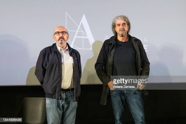 Jaume Roures and Fernando Leon de Aranoa pose in the announcement that the film 'El buen patron' is the candidate to Oscars 2022 on October 05, 2021...