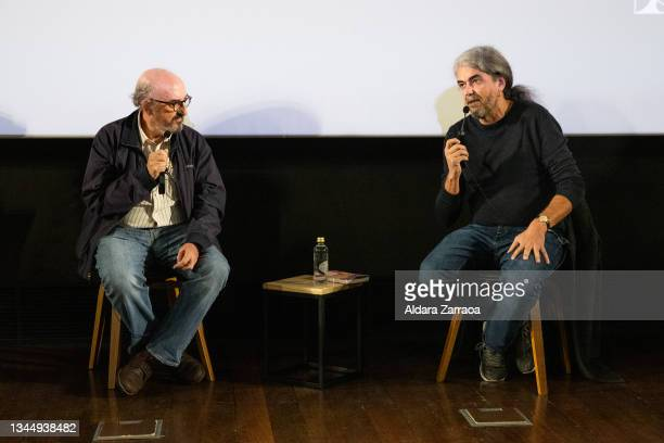 Jaume Roures and Fernando Leon de Aranoa speak in the announcement that the film 'El buen patron' is the candidate to Oscars 2022 on October 05, 2021...