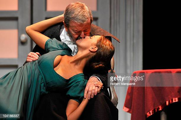 Jaun Jose Otegui and Amaia Salamanca attend a photocall for their latest theater production 'La Marquesa de O' at the Theater Romea on September 16...