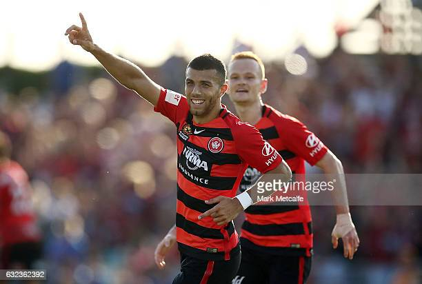 Jaushua Sotirio of the Wanderers celebrates scoring a goal during the round 16 ALeague match between the Western Sydney Wanderers and the Newcastle...